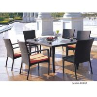 China 7-piece synthetic rattan wicker outdoor dining table with 2 armless chairs & 4 armchairs-8003 wholesale