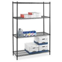 China Four - Tier Commercial  Wire Shelving , Flat Black Adjustable Saferacks Freestanding Shelf wholesale