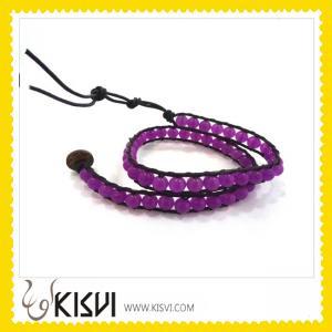 China Multicolor rhinestone beads adjustable crystal bangle leather bracelets  wholesale