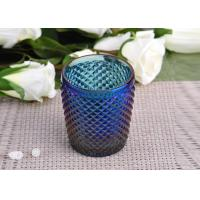 China Machine Made navy blue glass cylinder candle holder Embossed Cross Line wholesale