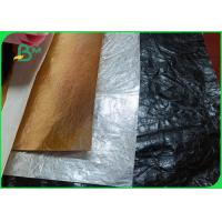 China Wrinkled Tear Resistant 0.55mm Black Washable Kraft Paper For Tote Bags wholesale