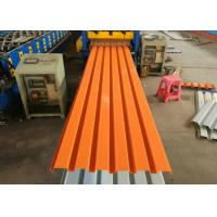 China Orange Color Powder Coated Corrugated Steel Roofing Sheets / Corrugated Metal Panels wholesale