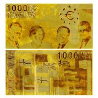 China Custom €100 €1000 euro 24k Engrave gold banknote with Double logo on sale