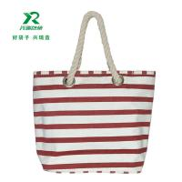 China Eco-friendly cheap customized canvas bag fashion shoulder bag canvas stripe  shopping bag wholesale