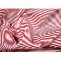 China Soft Touch Cotton Yarn Dyed Fabric , Smooth Red And White Striped Material wholesale