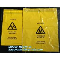 China self seal adhesive biohazard waste bags clinical resealable hazardous removal bag, Sealing Tape Biohazard Waste Bags wholesale
