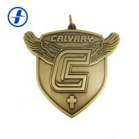 China Antique Gold Brass Custom Sports Medals And Ribbons , 3D Metal Plating Custom Race Medals wholesale