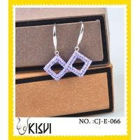 China Elegant designs square purple handcrafted crystal jewelry / shamballa earrings wholesale