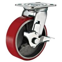 China Lockable Industrial Trolley PU Caster Wheel With Plate Fitting 4 Inches wholesale