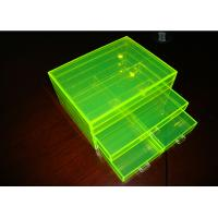 Quality Fluorescence Green Acrylic Jewelry Display Case Non-Toxicity With Drawers for sale