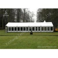 China White Fabric Top Outdoor Event Tent , Aluminum Profile Hard Glass Wall Tent wholesale