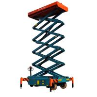 China 12 meters height mobile hydraulic scissor lift with motorized device loading capacity at 450Kg wholesale