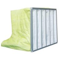 China Fire Retardant Pocket Air Filter AHU / Yellow F8 Non Woven Material With 6 Bags on sale
