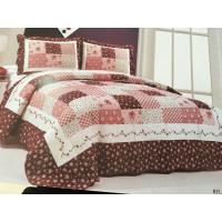 China Burgundy Color Home Bed Quilts Modern Technics With Matched Printed 240x260cm wholesale