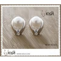 Quality Elegant & unique fashion design cute silver gemstone earring with imitation pearl W-AS1221 for sale