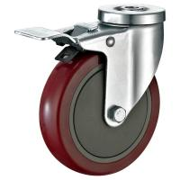 "China Pressed Steel Housing PU Caster Wheel For Case Carts Utility Carts 5""X1-1/4"" wholesale"