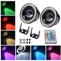 China 89MM Car 30W LED Fog Lamps colorful DRL Lights with RGB COB Halo Angel Eye Rings wholesale