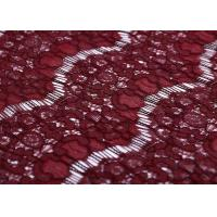 Romantic Burgundy Lace Fabric 145 Cm , 137G Net Fabric Material Wave Edge