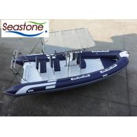 China 580cm Fiberglass Rigid Hulled Inflatable Boat With Two Bench Seats And Hard T-Top wholesale