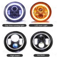 China 7 Inch Jeep Wrangler Car LED Headlights Angel Eyes Diecast Aluminum Housing wholesale