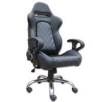 China Mult - function Gray + Black Leather Executive Office Chair Lounge With Metal Frame wholesale