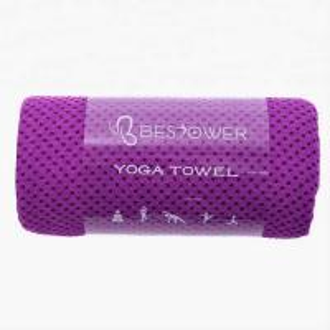 Anti - Bacterial Microfiber Yoga Towel Purple Color Compressed Fine Treatment