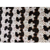 China Black and White Delicate Flower Embroidered Water Soluble Lace Fabric With Flower For Garment Top Dresses wholesale