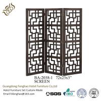 China Wooden Carved Homedecor Tri Fold Room Divider / Decorative Partition Screen For Living Room wholesale