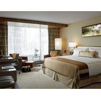 Quality Rubber Wood Bed Hotel Guest Room Furniture With Brown Leather Stainless Steel for sale
