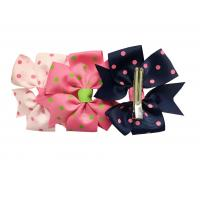 China Dot Printing Kids Hair Accessories , Multi Color Grosgrain Ribbon Hair Bows on sale
