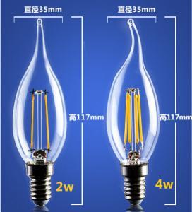 China 4W 6W C35 E14 Edison COG lamp LED Filament Bulb B22 G45 G95 ST64 bulb glass G125 wholesale