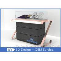 Buy cheap Elegant Comfortable Black Rose Gold Wood Glass Sit Down Jewelry Case With Lights from wholesalers
