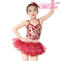 China Fancy Kids Dance Costumes Floral Sequin Dress Matching Tulle Tutu Skirt wholesale