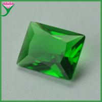 China wholesale bulk green color rectangle shape faceted synthetic colored glass gems on sale