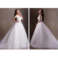 China Sexy V Neck Off Shoulder Beaded Sweetheart Lace Wedding Dress with Long train wholesale