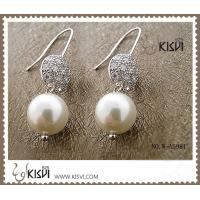 China High quality guarantee silver gemstone earrings with imitated pearl, zircon W-AS981 wholesale