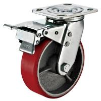 Small Red Caster Wheels / Heavy Duty Locking Swivel Casters With Plate Fitting