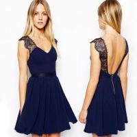 China Summer Sexy Backless Short Cocktail Party Dresses Sleeveless Black wholesale