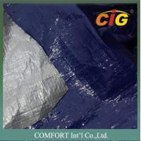 China Plastic waterproof tarpaulin 150G/M2 2M Wide 100% PE Material Blue / Silver Color wholesale