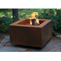 China Wood Burning Square Metal Fire Pit , Square Garden Fire Pit Simple Design on sale
