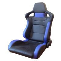China PVC Adjustable Blue And Black Racing Seats / Sports Car Seat with single slider wholesale