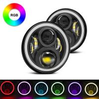 China 7 Inch Round RGB Halo Car Lights Bluetooth Control Headlights High / Low Beam wholesale