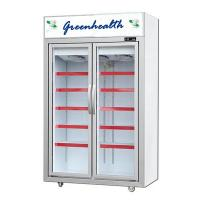 China Movable 2 Glass Door Beverage Showcase With Heating Fuse Defrost System wholesale
