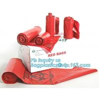 China 30 Gallon 33 X 40 Red Isolation Infectious Waste Bag / Biohazard Bag High Density 17 Microns - 250 / Case, bagease wholesale