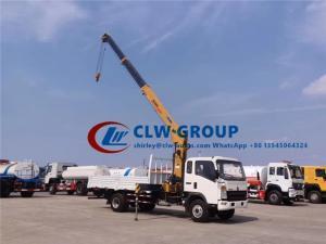 China RHD Howo 3.2 Tons Straight Arm Truck Mounted Hydraulic Crane wholesale