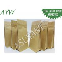 China 8 Side Sealed Zip Square Bottom Bag , Snack Kraft Paper Stand Up Pouch With Tin Tie on sale