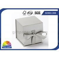 China Logo Printed Jewelry Gift Box with Ribbon Closure , Rigid Cardboard Paper Gift Box on sale