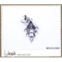 China fashion stainless steel exotic skull pendant with black enamel H-L1542 wholesale
