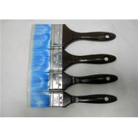 China Blue Nylon Flat Paint Brush With Black Wooden Handle , Painting Tools For Walls wholesale