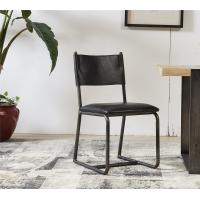 China Vintage Top Genuine Black Leather Padded Dining Room Chairs Steel Frame European Style wholesale